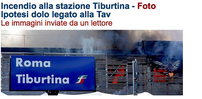 Titolo di Repubblica sull'Incendio di Stazione Tiburtina