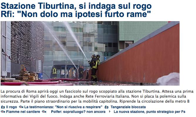 Repubblica titolo incendio Tiburtina